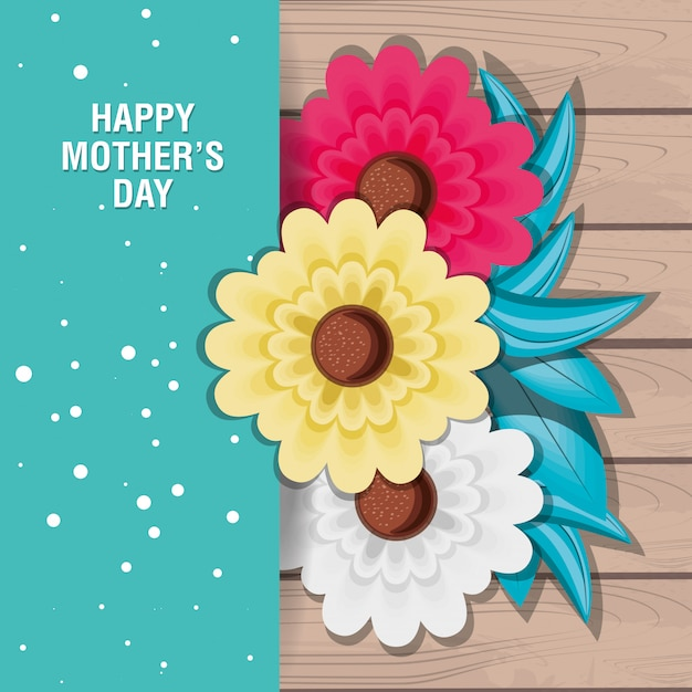 Happy mother day card with flowers Premium Vector
