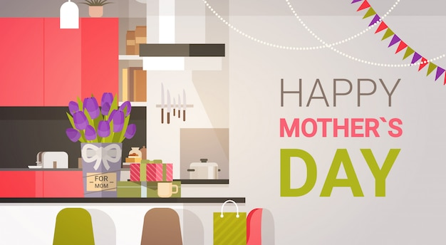 Happy mother day, family kitchen interior, spring holiday greeting card banner Premium Vector
