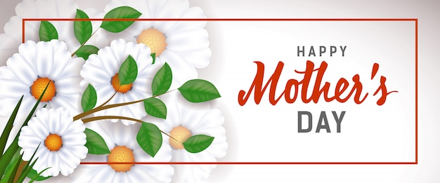 Happy Mother Day lettering in frame with white flowers. Mothers Day greeting card.