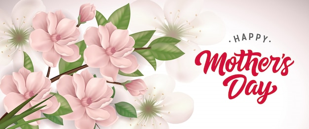 Happy mother day lettering with blooming twig. mothers day greeting card. Free Vector