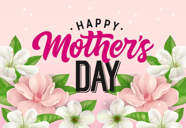 Happy Mother Day lettering with flowers on pink\ background. Mothers Day greeting card