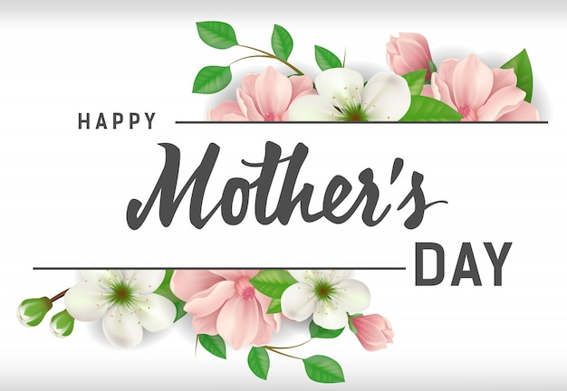 Happy Mother Day lettering with flowers on\ white background. Mothers Day greeting card