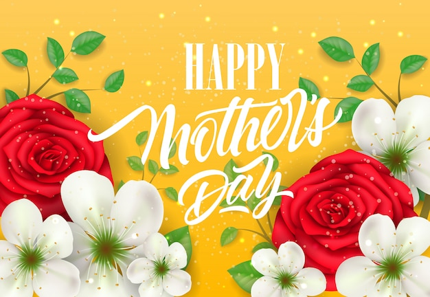 Happy Mother Day lettering with flowers on\ yellow background. Mothers Day greeting card