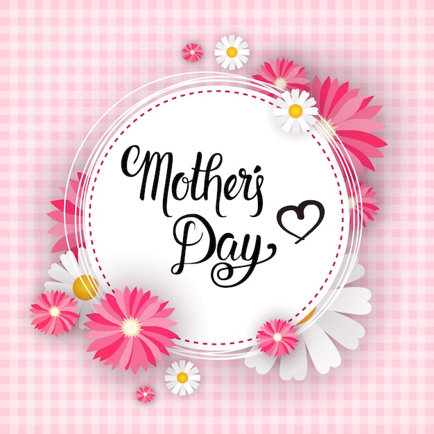 Happy mother day, spring holiday greeting card banner Premium Vector