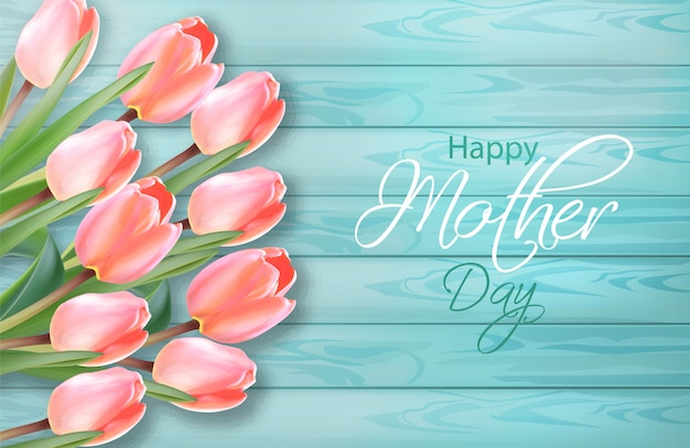 Happy mother day tulip flowers bouquet Premium Vector