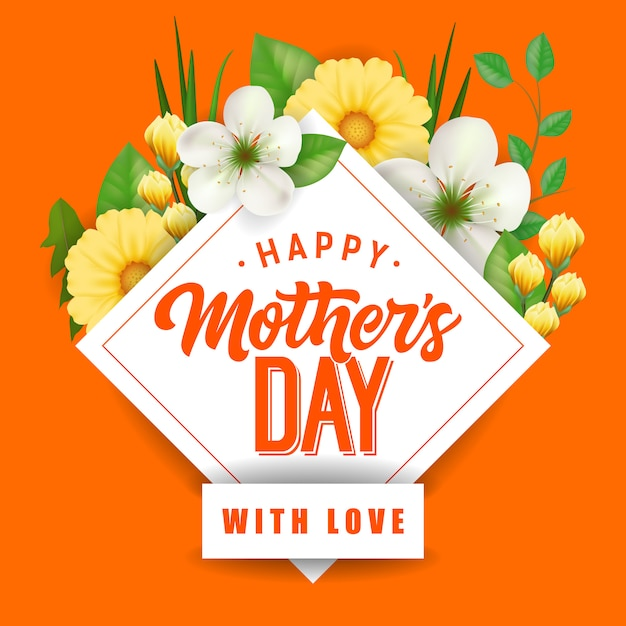 Happy Mother Day with Love lettering and\ flowers. Mothers Day greeting card.