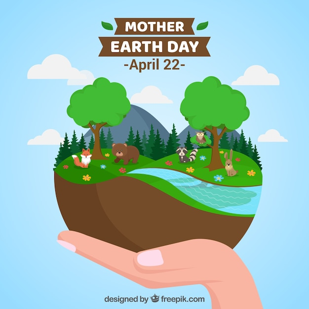 Happy mother earth day background Free Vector