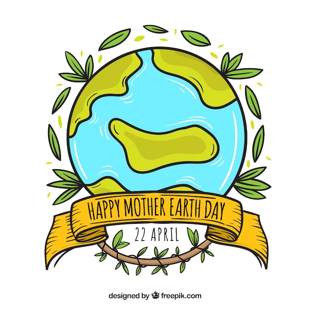 Happy Mother Earth Day Hand Drawn Background Vector Free Download