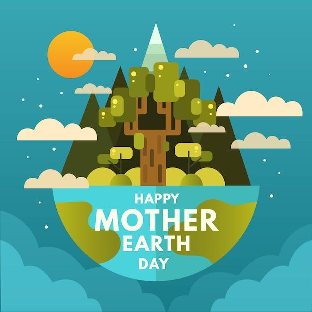 Счастливый день матери-земли с деревом и облаками Бесплатные векторы