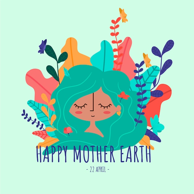 Happy mother earth Free Vector