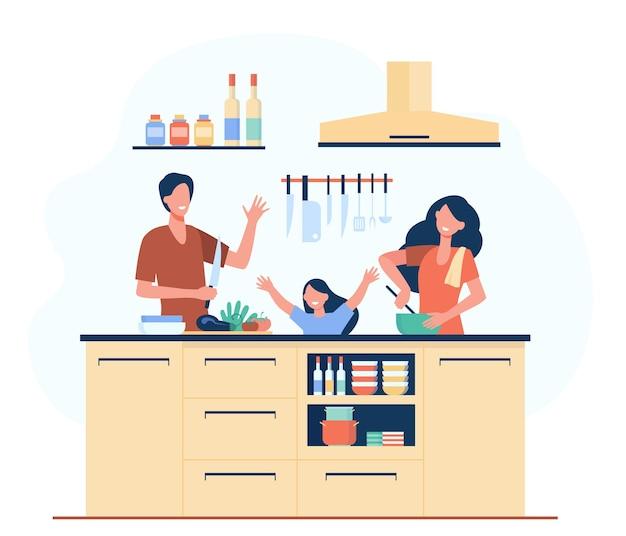 행복 한 어머니, 아버지와 딸이 함께 고립 된 평면 그림 요리. 무료 벡터