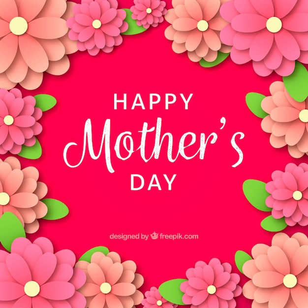 Happy Mothers Day Background In Paper Style Free Vector
