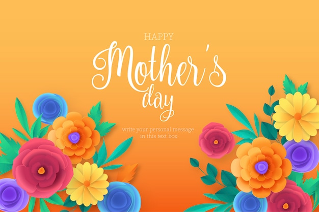 Happy mother's day background with colorful flowers Free Vector