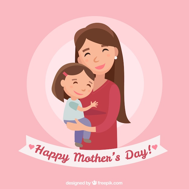 Happy mother's day background with family Free Vector