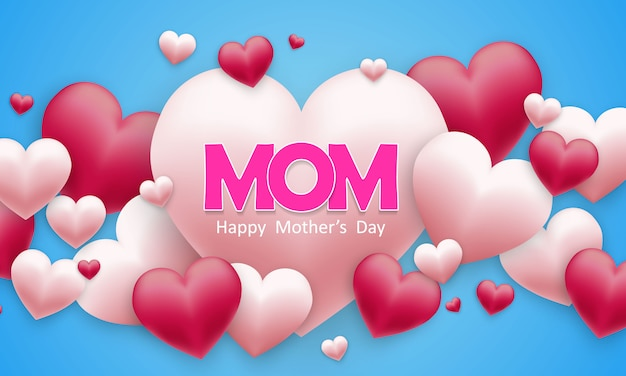 Happy mother's day background with hearts Premium Vector