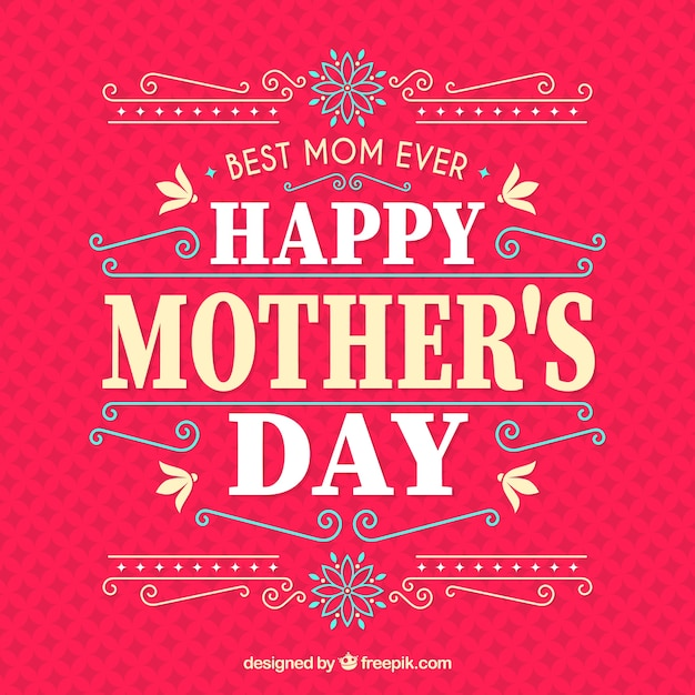Happy mother's day background with typography Free Vector