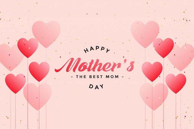 Happy mother's day balloon hearts greeting Free Vector