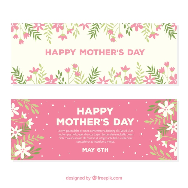 Happy Mothers Day Banners In Flat Design Free Vector