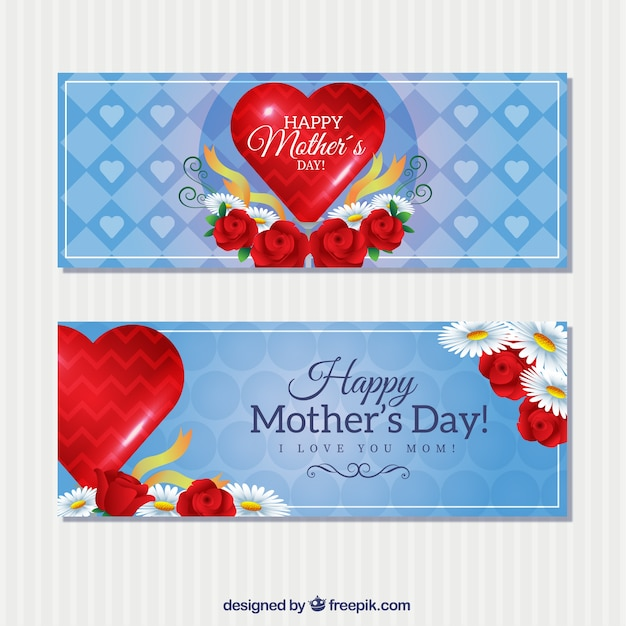 Happy mother\'s day banners with a red\ hearts