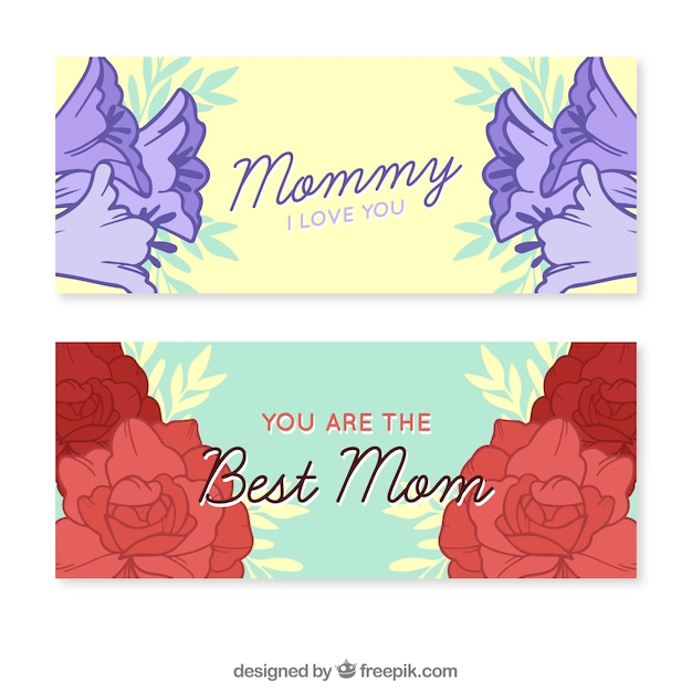 Happy mother's day banners with flowers   Free Vector