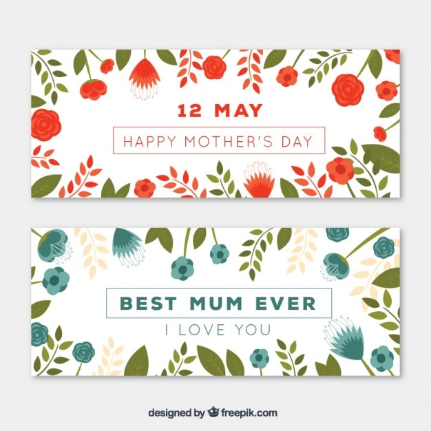 I Love You Mom Happy Mothers Day Flyer Template Psd Free: Happy Mother's Day Banners Vector