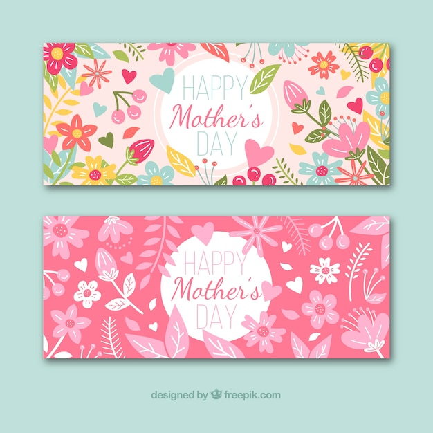 Happy Mothers Day Banners Free Vector