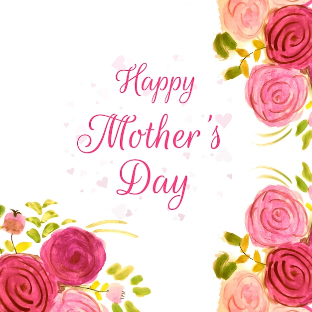 Happy mother's day beautiful design with watercolor flowers Free Vector