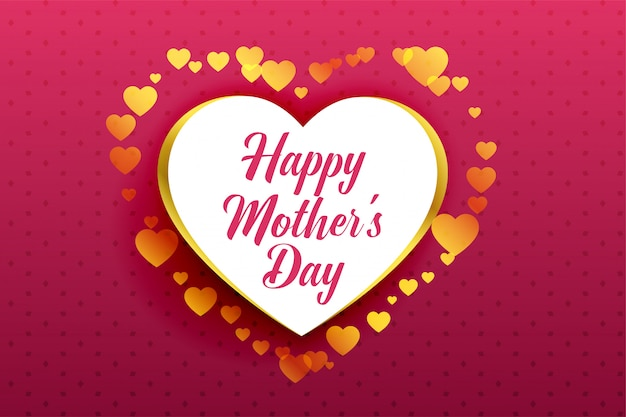 Happy mother's day beautiful hearts background Free Vector