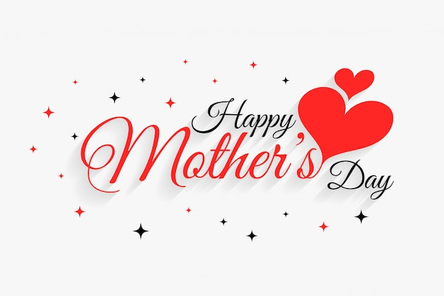 Happy mother's day beautiful hearts greeting Free Vector
