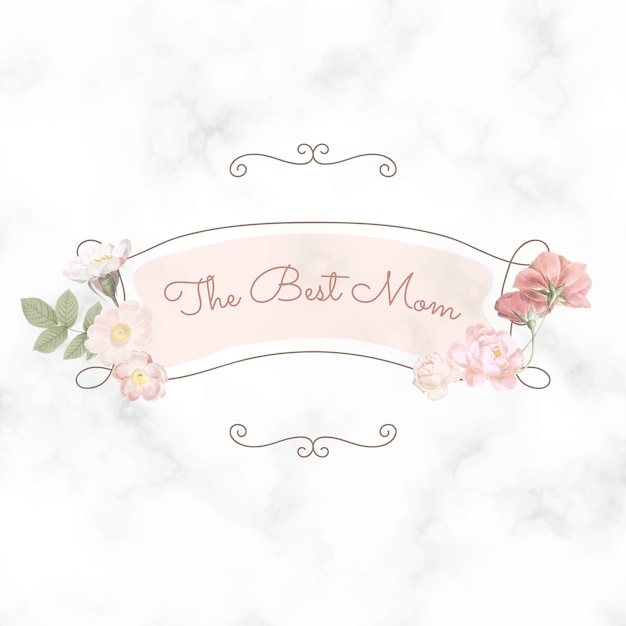 Happy mother's day. the best mom lettering Free Vector