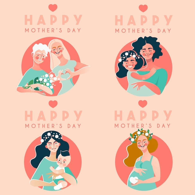 Happy mother's day card collection Premium Vector