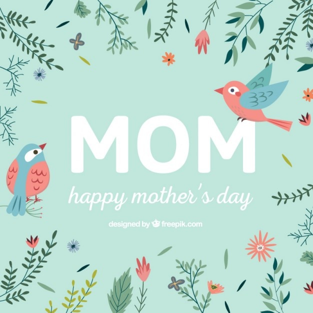 Happy mother's day card with flowers and birds Premium Vector