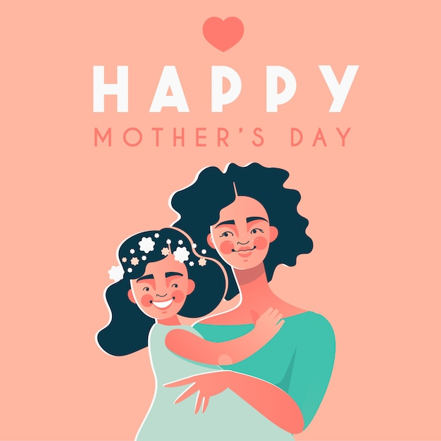 Happy mother's day card with happy afro american woman and her daughter Premium Vector