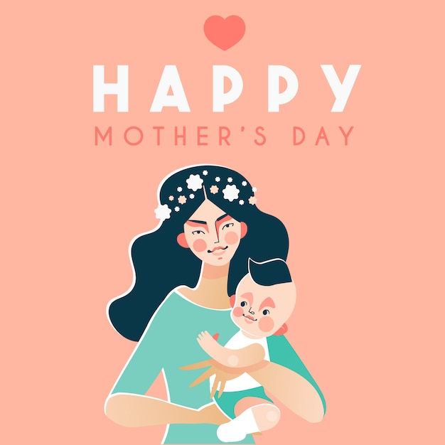 Happy mother's day card with happy woman holding baby Premium Vector