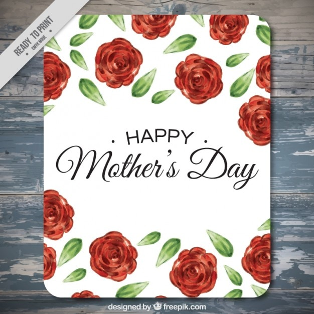 Happy mother\'s day card with roses