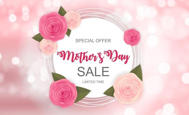 Happy mother s day cute sale banner Premium Vector