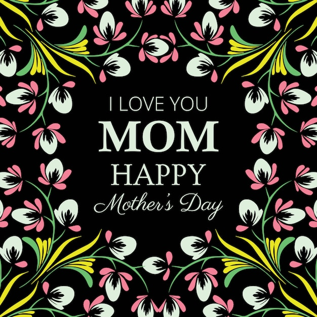 Happy mother's day decorative floral card Free Vector