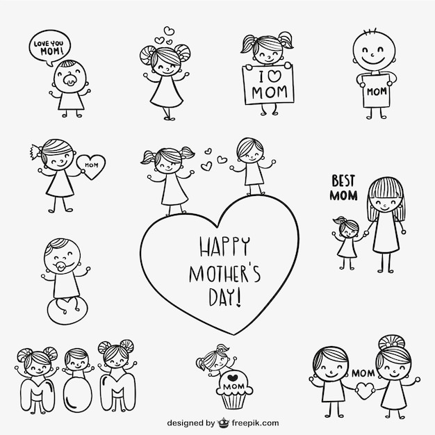 Free Vector Happy Mother S Day Drawings