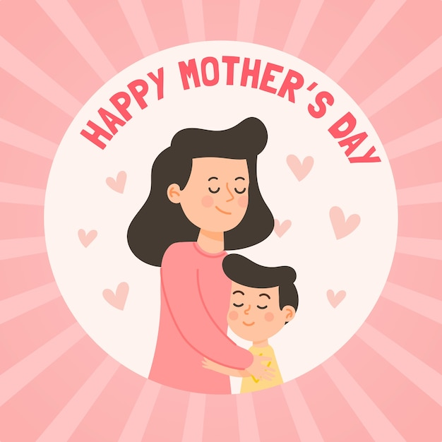 Happy mother's day flat design Free Vector