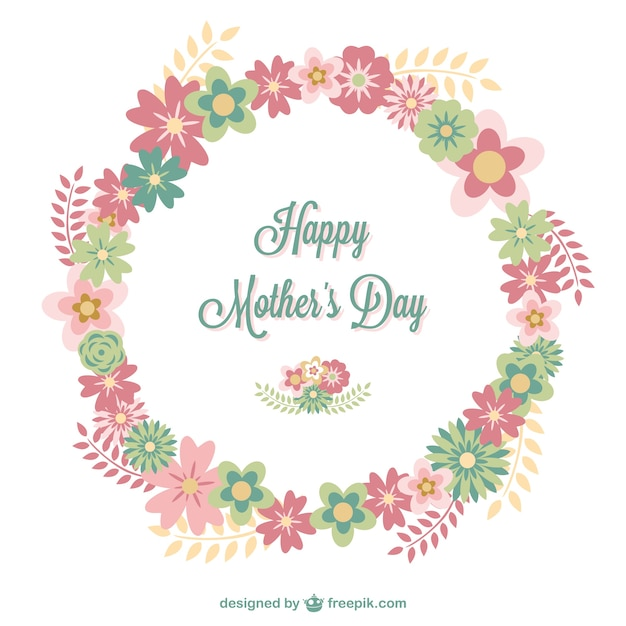 Happy mother's day floral card Free Vector