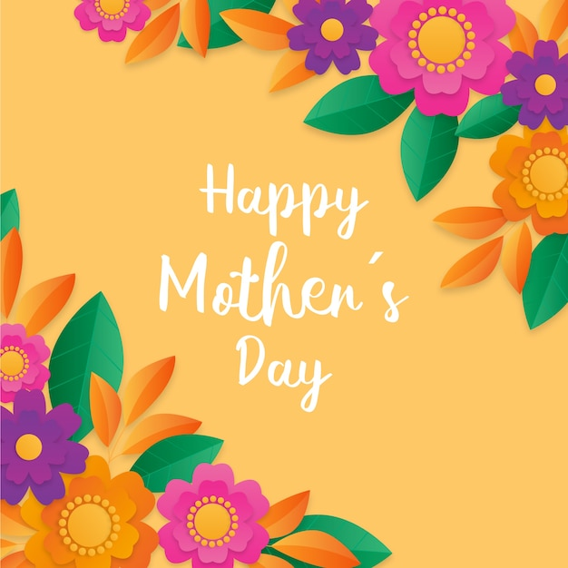 Happy mother's day floral design Free Vector