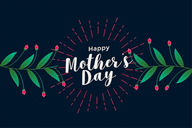 Happy mother's day floral greeting background Free Vector