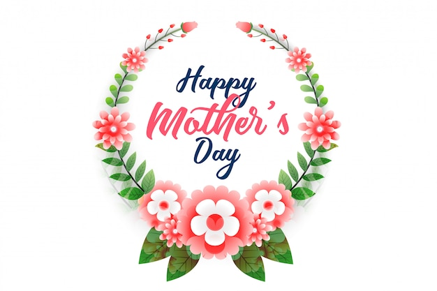 Happy mother's day flower background Free Vector