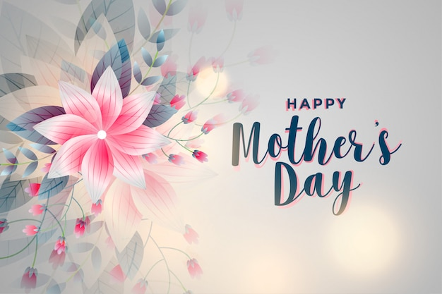 Happy mother's day flower greeting background Free Vector