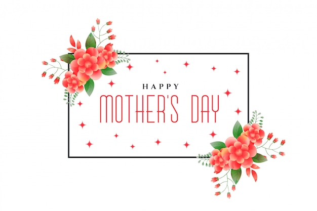 Happy mother's day foliage greeting design Free Vector