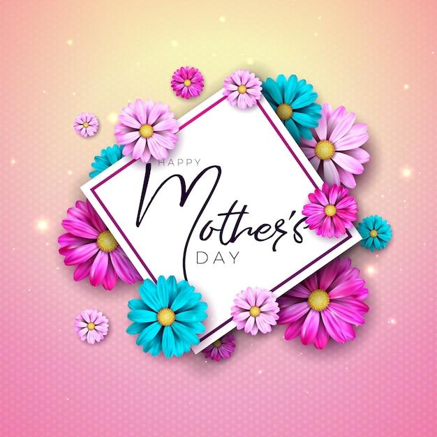 花とタイポグラフィの手紙で幸せな母の日グリーティングカードデザイン 無料ベクター