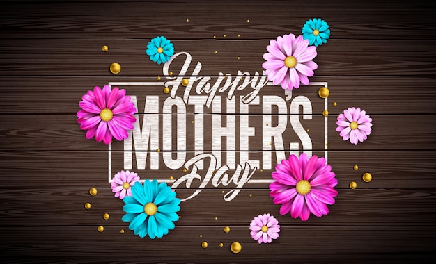 Happy mother's day greeting card design with flower and typography letter on vintage wood background.   celebration illustration template for banner, flyer, invitation, brochure, poster. Free Vector