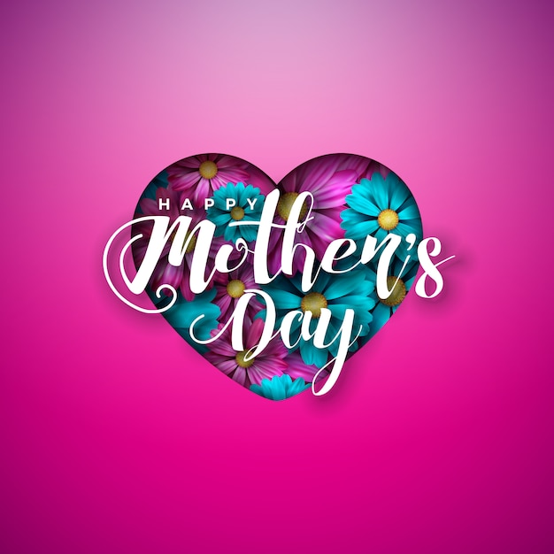 Happy mother's day greeting card design with flowers in heart and typography letter on pink background. Free Vector