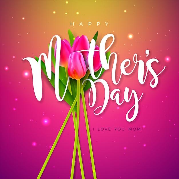 Счастливый дизайн поздравительной открытки дня матери с цветком тюльпана и письмом книгопечатания на розовой предпосылке. празднование иллюстрация шаблон для баннера, флаера, приглашения, брошюры, плаката. Бесплатные векторы