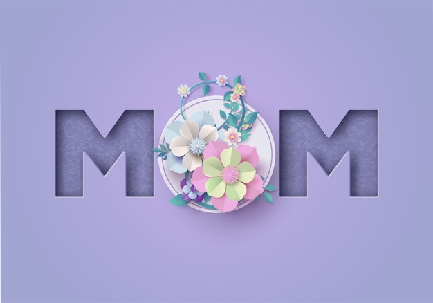 Happy mother's day greeting card. paper cut Premium Vector